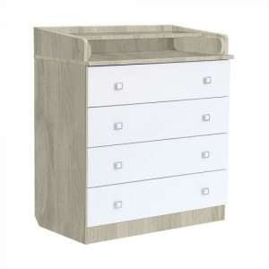Braize Wooden 4 Drawers Chest With Changing Top In Elm And White