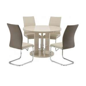 Brambly Glass Round Dining Table In Latte And Ellis Dining Chair