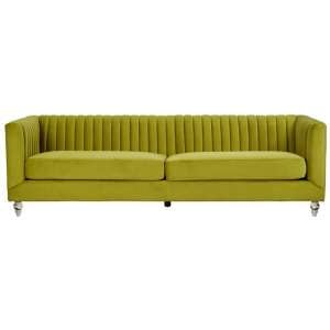 Brasa Velvet 3 Seater Sofa In Green
