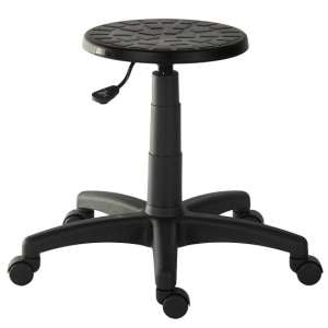 Breeze Contemporary Stool In Black With Castors