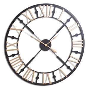 Breezy Metal Skeleton Wall Clock In Black And Gold