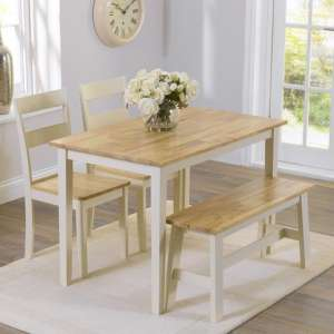 Bremen Oak And Cream Dining Set With 2 Chairs And 1 Bench