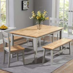 Broman Oak And Grey Dining Set With 2 Chairs And 2 Large Bench