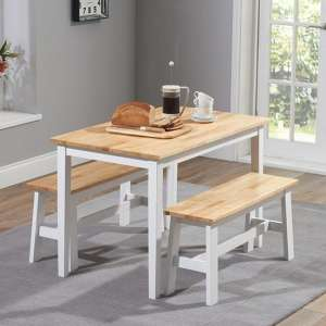 Bremen Oak And White Dining Set With 2 Benches