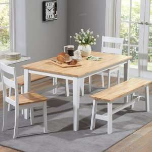 Broman Oak And White Dining Set With 2 Chairs And 2 Large Bench