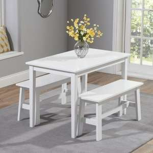 Bremen White Dining Set With 2 Benches