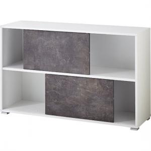 Brenta Sliding Shelving Unit In White And Basalto Dark