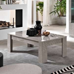 Breta Coffee Table In Grey Marble Effect With High Gloss Lacquer
