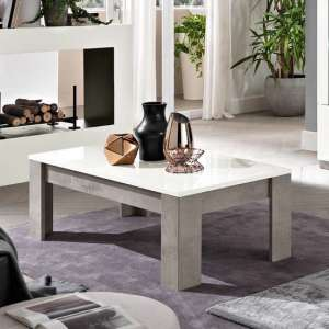 Breta Coffee Table In White High Gloss And Grey Marble Effect