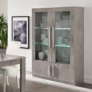 Breta Display Cabinet In Grey Marble Effect High Gloss And LED