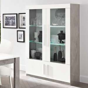 Breta Display Cabinet In White Gloss And Grey Marble Effect LED