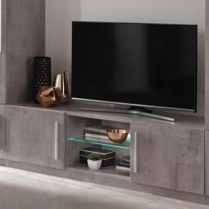 Breta TV Stand Grey Marble Effect With High Gloss And LED