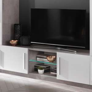 Breta TV Stand In Grey Marble Effect With White Gloss And LED