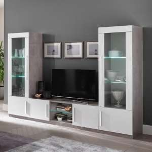 Breta Living Room Set In Grey Marble Effect And White Gloss LED