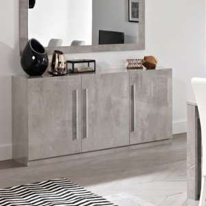 Breta Sideboard In Grey Marble Effect With High Gloss Lacquer