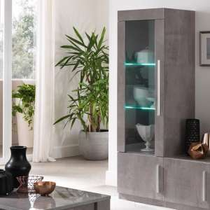 Breta Display Cabinet Grey Marble Effect With High Gloss And LED