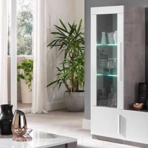 Breta Display Cabinet In Grey Marble Effect White Gloss And LED