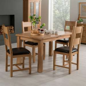Brex Extending Natural Dining Table With 4 Chairs