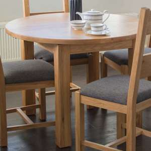 Brex Extending Wooden Round Dining Table In Natural