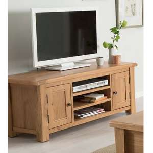 Brex Large Wooden 2 Doors TV Stand In Natural