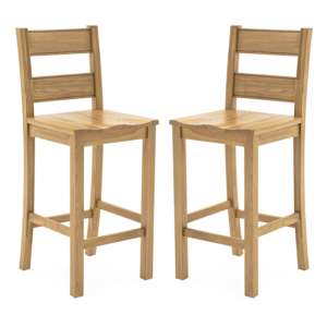 Brex Natural Wooden Bar Stools In Pair