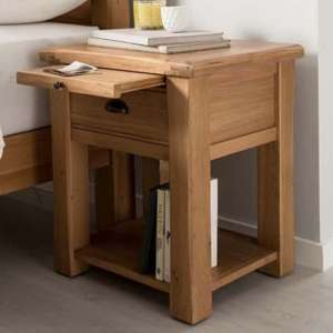 Brex Wooden 1 Drawer Bedside Table In Natural