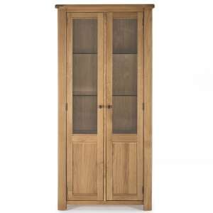 Brex Wooden 2 Doors Display Cabinet In Natural