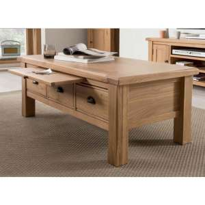 Brex Wooden 3 Drawers Coffee Table In Natural
