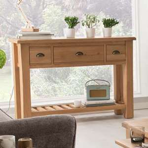Brex Wooden 3 Drawers Console Table In Natural