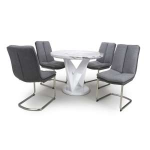 Brezza Round Marble Effect Dining Table With 4 Light Grey Chairs