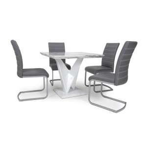Brezza Square Marble Effect Dining Table With 4 Grey Chairs