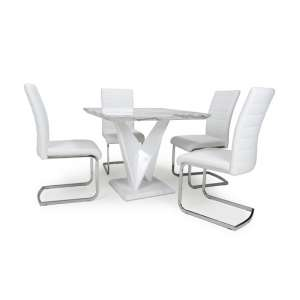 Brezza Square Marble Effect Dining Table With 4 White Chairs