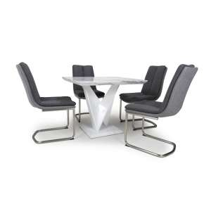 Brezza Square Marble Effect Dining Table With 4 Dark Grey Chairs