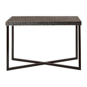 Alya Metal Console Table In Black Inlay Top