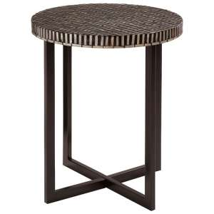 Alya MDF Round Side Table In Black And White Tones