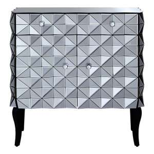 Brice Glass Storage Cabinet In Silver With Wooden Legs
