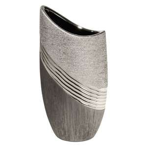 Bridgetown Ceramic Large Deco Vase In Grey And Silver