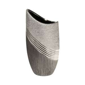 Bridgetown Ceramic Small Deco Vase In Grey And Silver