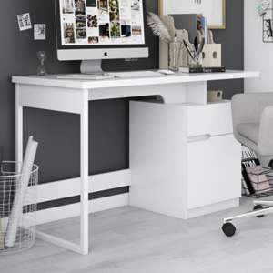 Bridport Wooden Computer Desk In White High Gloss