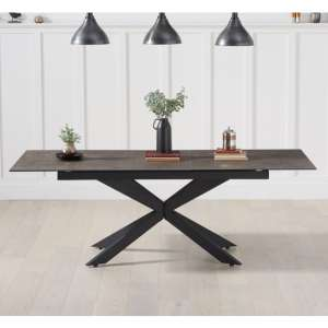 Brilly Extending Glass Ceramic Dining Table In Mink