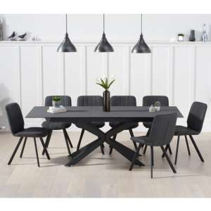 Brilly Extending Grey Effect Glass Dining Table 6 Grey Chairs