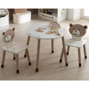 Britta Round Table In Chocolate And Beige With 2 Chairs_1