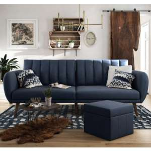 Brittany Linen Sofa Bed In Navy Blue With Wooden Legs