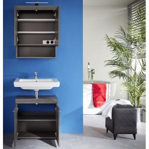 Britton Bathroom Furniture Set In Sardegna Smoke Silver With LED_3