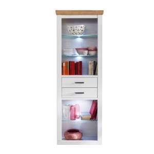 Brixen LED Wooden Display Cabinet In Oak And White With 2 Drawer