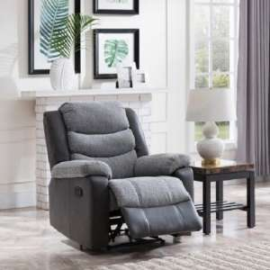 Brixton Recliner Armchair In Grey PU And Fabric