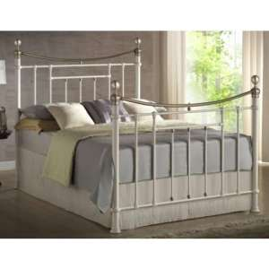 Bronte Steel King Size Bed In Cream