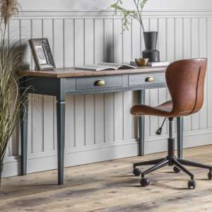Bronte Wooden Laptop Desk In Strom With 2 Drawers