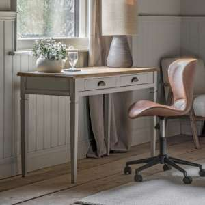 Bronte Wooden Laptop Desk In Taupe With 2 Drawers