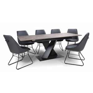Bronx Extending Dining Set In Grey With 6 Grey Cooper Chairs